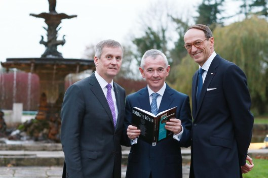 Excellence in hospitality: Pictured is Michael Davern, CEO, The K Club,  Author Conor Kenny and Philippe Leboeuf, GM, Mandarin Oriental, Paris at the launch of DANCING AT THE FOUNTAIN: IN CONVERSATION WITH WORLD-LEADING HOTELIERS at The K Club. The hoteliers interviewed also include Kiaran MacDonald, The Savoy, London, Nathalie Seiler-Hayez, Connaught Hotel, London, Bernard Murphy, Gleneagles, Scotland, Greg Liddell, Mandarin Oriental, Barcelona; and Luc Delafosse, Hôtel de Crillon, Paris. The book is available from SuccessStore.com and all good bookshops.  ***NO REPRO FEE***