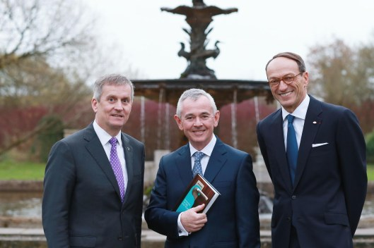 Michael Davern, Conor Kenny, Philippe Leboeuf at the launch of DANCING AT THE FOUNTAIN at The K Club, Dublin